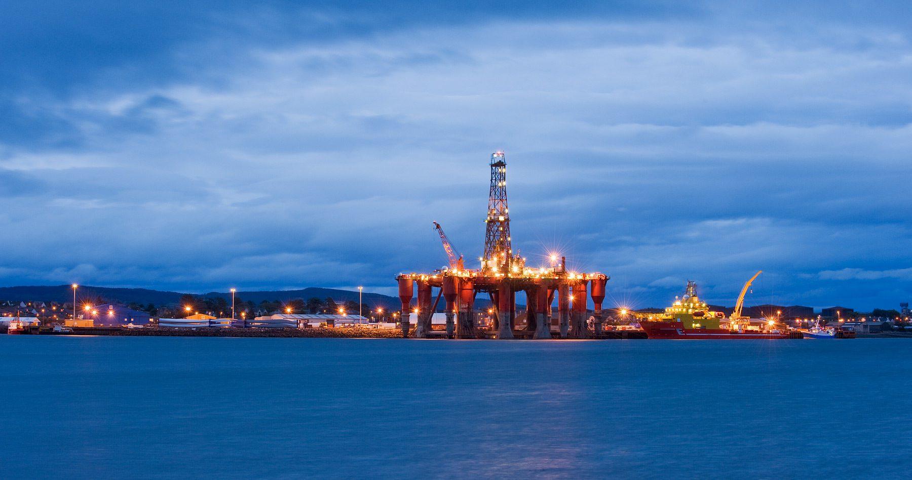 Oil rigs moored in Cromarty Firth. Invergordon, Scotland, UK