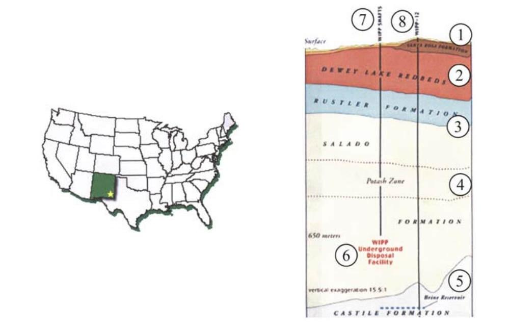 Карта расположения хранилища WIPP и геологическое строение региона расположения WIPP