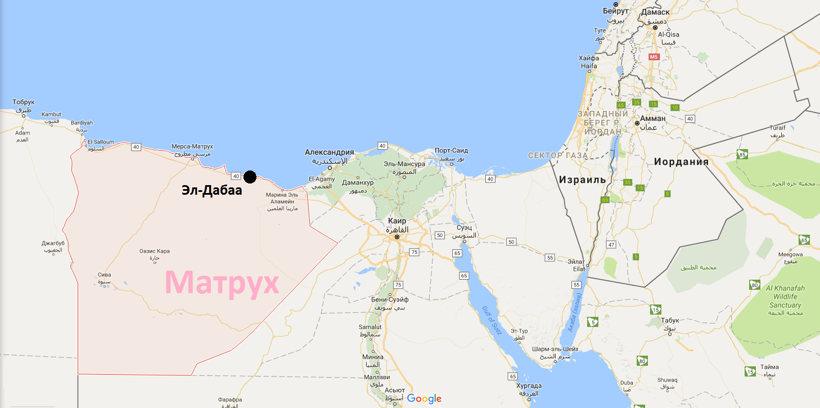 Мухафаза Матрух и расположение Эл-Дабаа на картре Египта, Рис.: Google Maps
